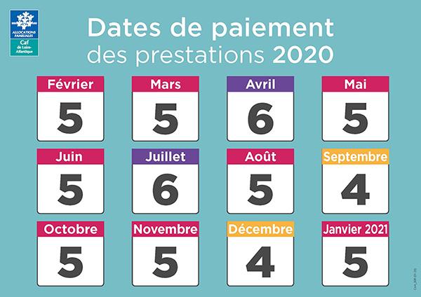 calendrier 2020 versement CAF